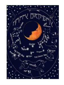 Sleeping Moon Glitter - Blank Greeting Card card The Northern Line