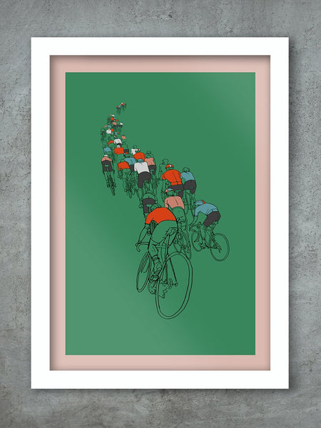 The Peloton - Cycling Poster Print white frame