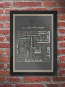 The Wainrights Lake District Poster Print. All 214 of Alfred Wainwright's chronicled Lake District fells.