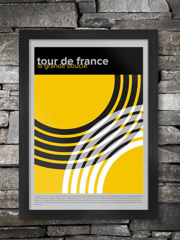 Tour de France - Geometric Cycling Poster Print. A stylised graphic design of the great race. It's part of a series of three which includes Giro d'Italia and Vuelta a España. Makes a great collection! The poster incorporates a short bio on the origin and founding of the race back in 1903 and first won by Maurice Garin. A great poster for a studio environment.