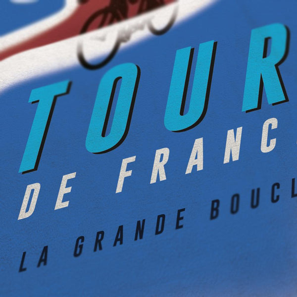 Tour de France 'Gitanes' inspired retro styled cycling poster. Iconic national imagery for Grand Tour posters