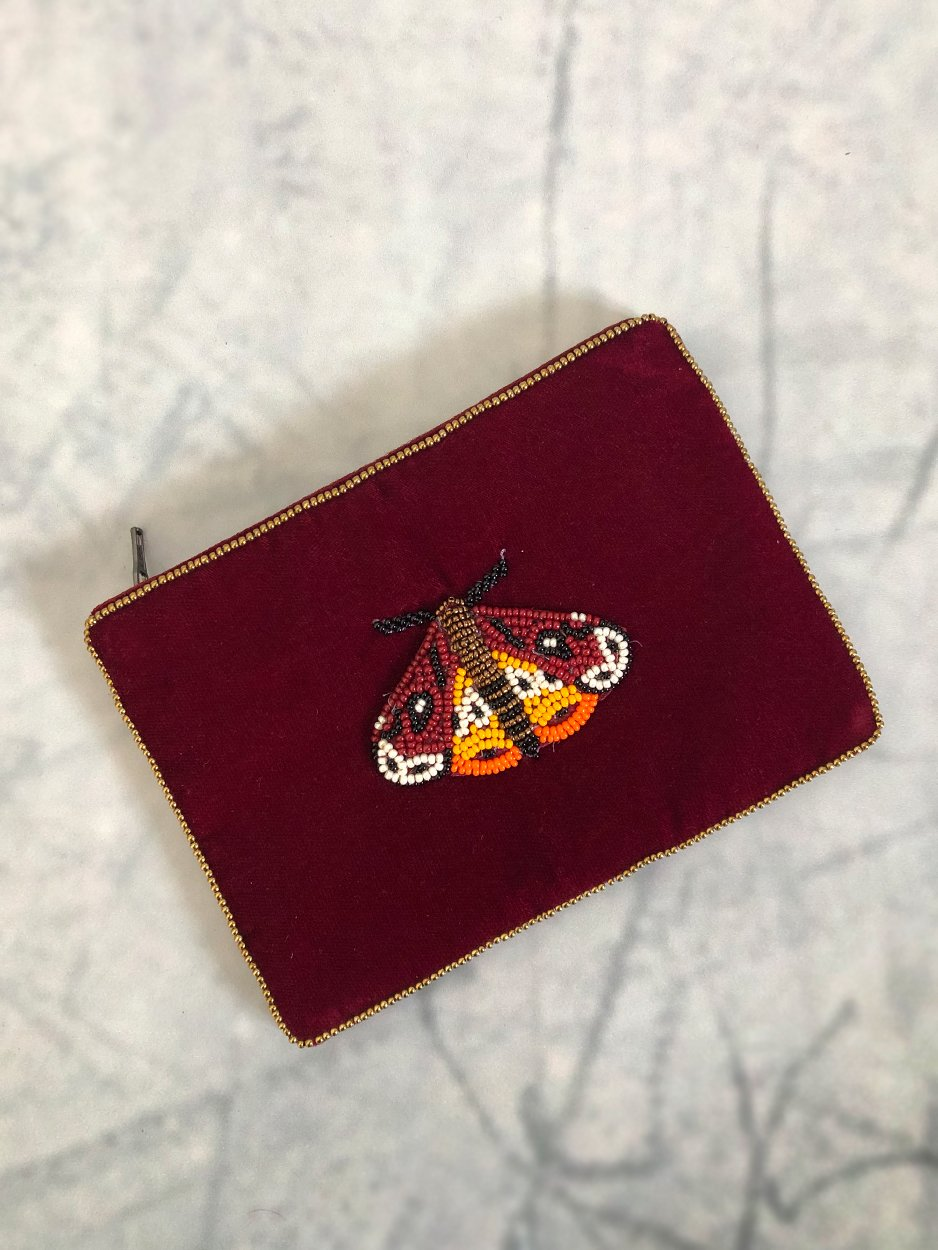 burgundy butterfly pouch