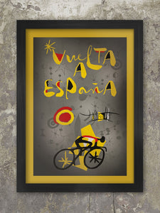 Vuelta a Espana retro, abstract cycling poster. Styled on and influenced by the Catalan artist Joan Miró