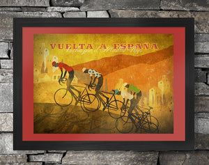 Vuelta a España Retro Style Cycling Poster. The third of the Grand Tours this famous race has been won by the real greats including, Chris Froome, Eddy Merckx, Alberto Contador, Bernard Hinault and Vincenzo Nibali.