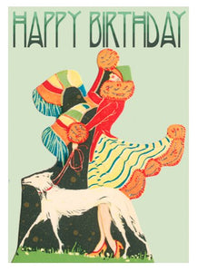 Walking The Dog Vintage Style Birthday Card - Blank Greeting Card card The Northern Line