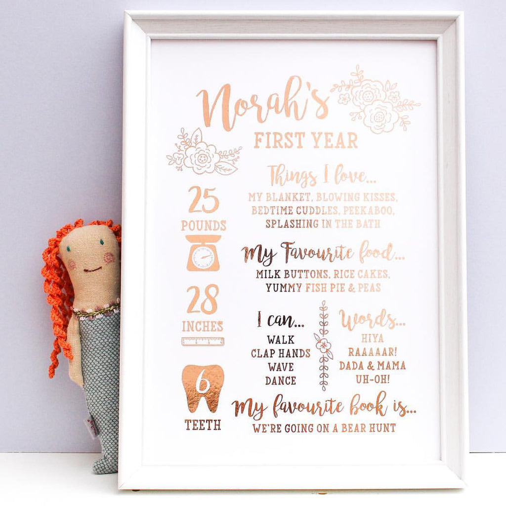 Rose Gold Foil First Birthday Baby Print