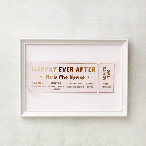Gold Foil Print - Personalised Wedding Anniversary Ticket - Nina Thomas Studio