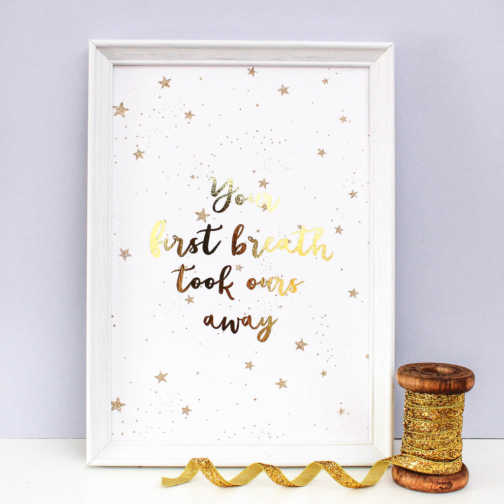Gold Foil Print - Your First Breath - Nina Thomas Studio