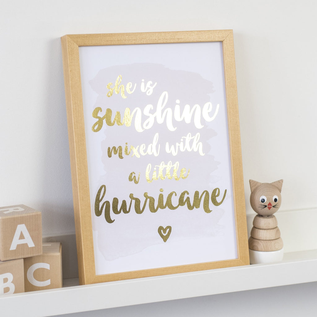 Gold Foil Print - She Is Sunshine Mixed With A Little Hurricane - Nina Thomas Studio
