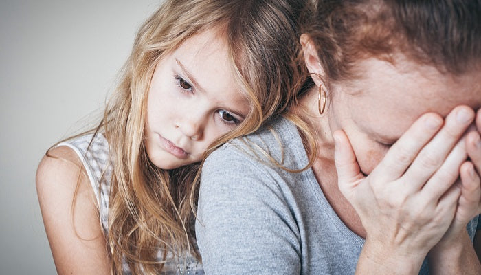 mom stressed with daughter