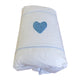 Cot Duvet Cover- Blue Hand-crocheted Heart - Linen- Baby Belle