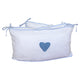 Cot Bumper-  Hand-crocheted Heart Blue
