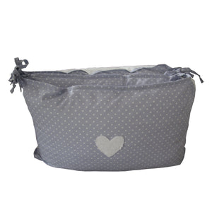 Cot Bumper - Hearts Range, Grey with white dots - Linen- Baby Belle