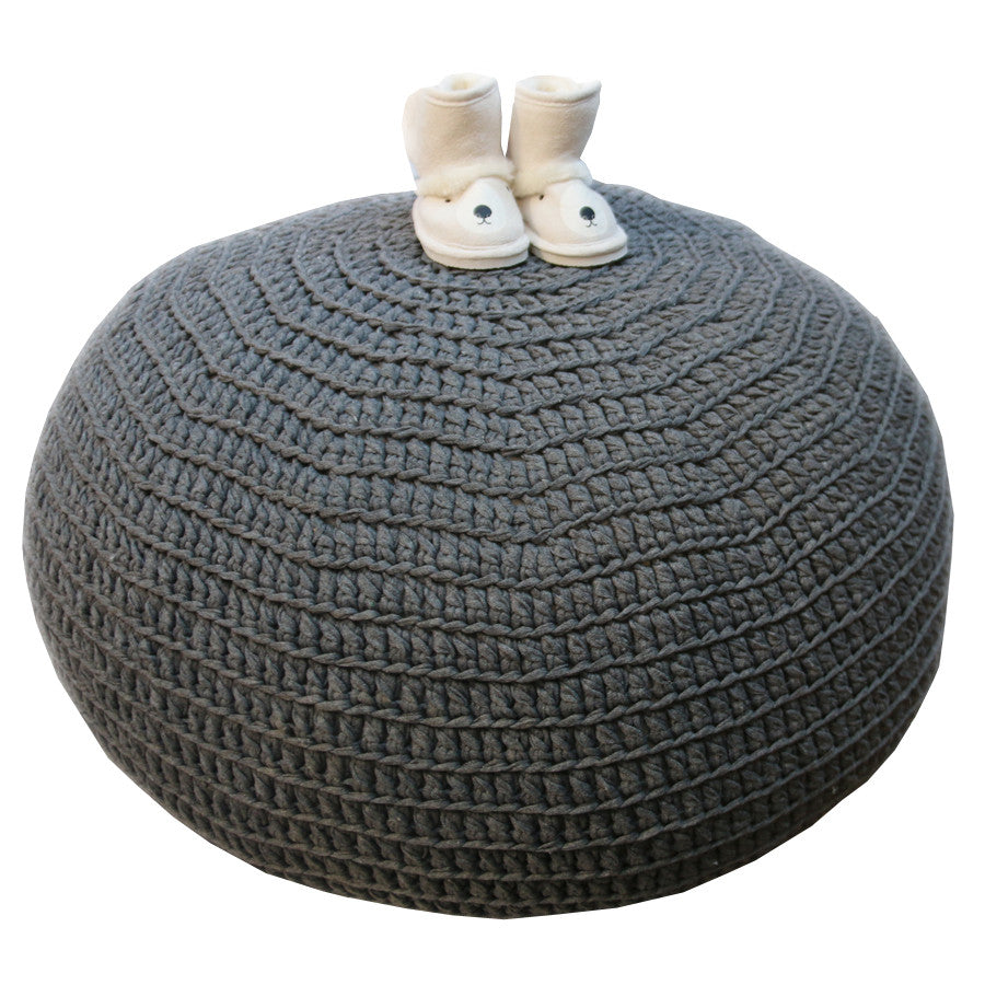 Ottoman- Hand Crocheted Charcoal