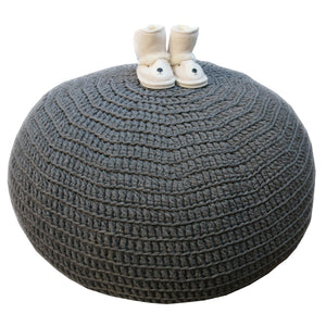 Ottoman- Hand Crocheted Charcoal - Ottoman- Baby Belle