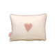 Scatter Pinstripe pink hand crochet heart - Scatter Cushion- Baby Belle