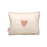Scatter Pinstripe pink hand crochet heart - Scatter Cushion - Baby Belle