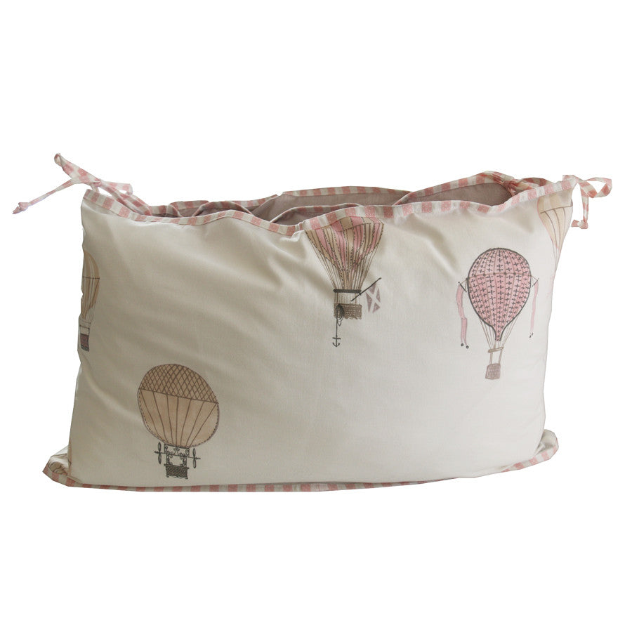 Cot Bumper - Pink Up, up & away - Linen- Baby Belle