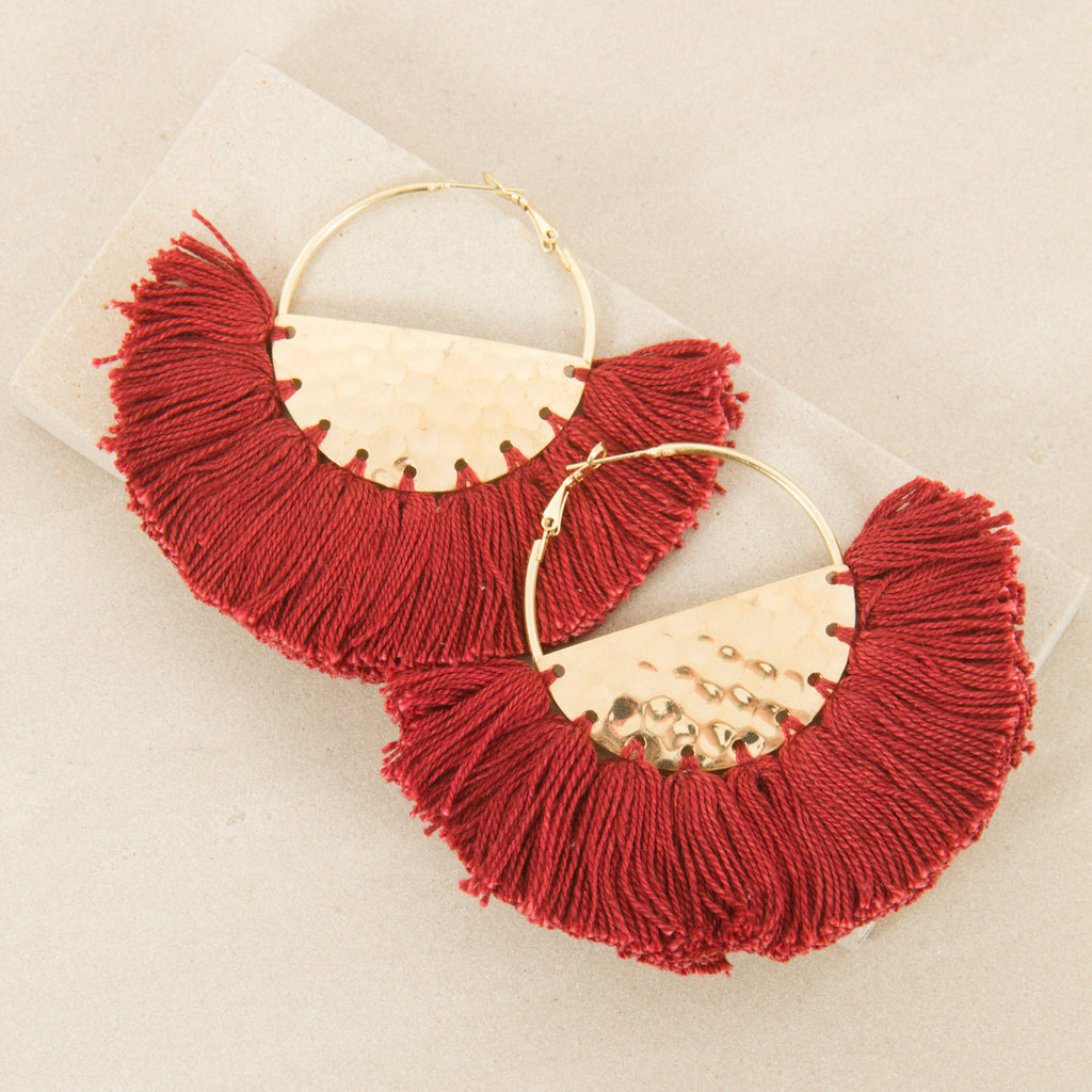 ELENA FRINGED / EARRINGS - Burg/Gold