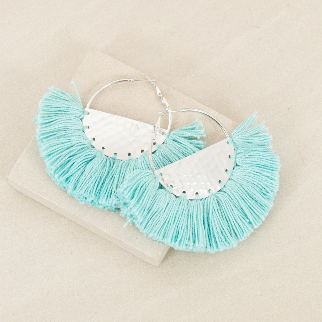 ELENA FRINGED / EARRINGS - Mint