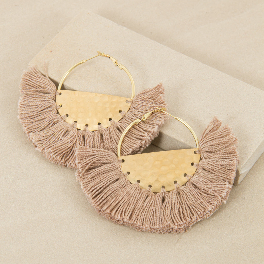 ELENA FRINGED / EARRINGS - Moch/Gold