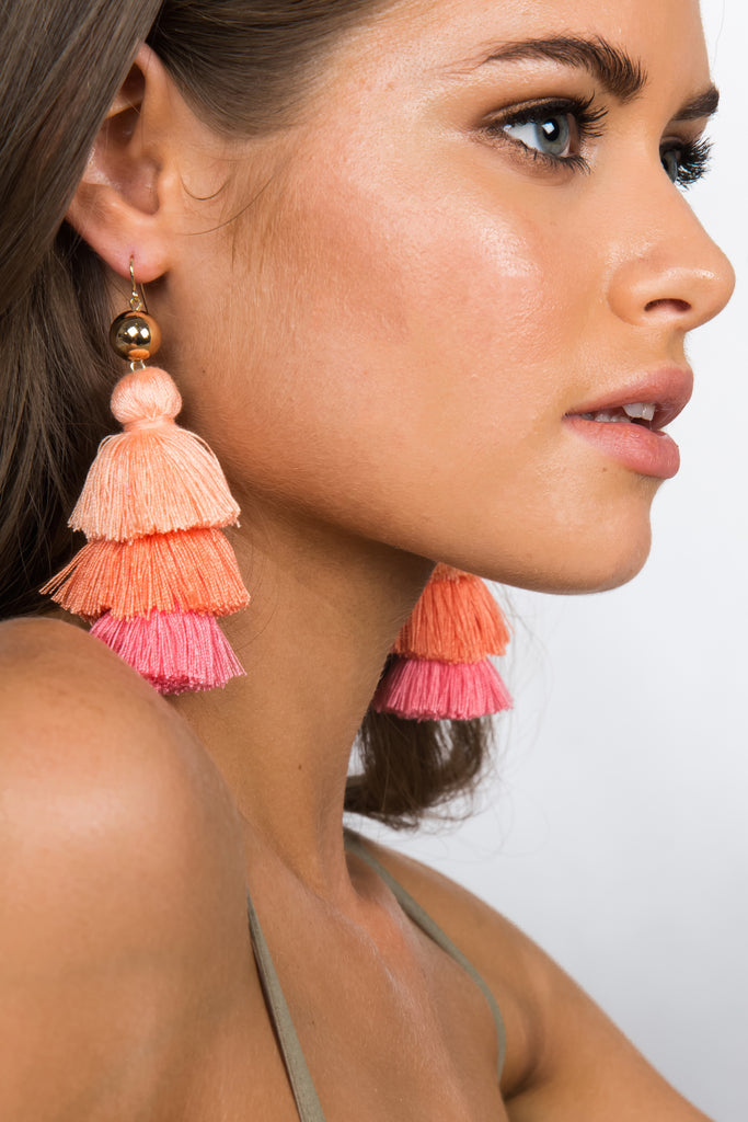 TRI-TONE TASSEL / EARRINGS