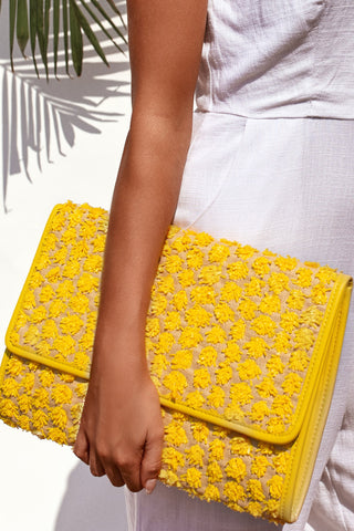 SYLVIA RAFFIA / CLUTCH - YELLOW