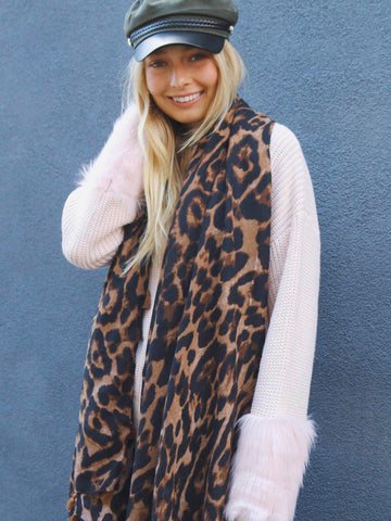 BAZAAR LEOPARD / SCARF - DARK BROWN