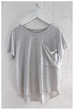 HUDSON STRIPE / TEE - Grey