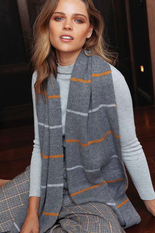ELKA STRIPE / SCARF - GREY