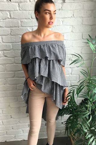 GINGHAM OFF THE SHOULDER / TOP