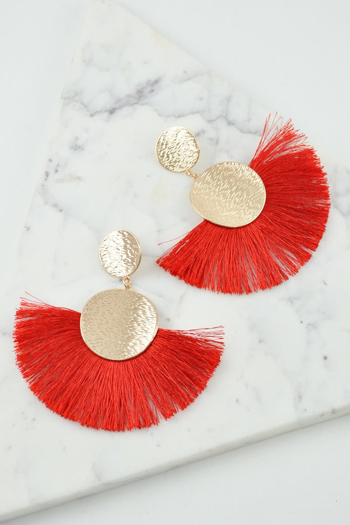 LOLITA FAN EARRINGS - RED