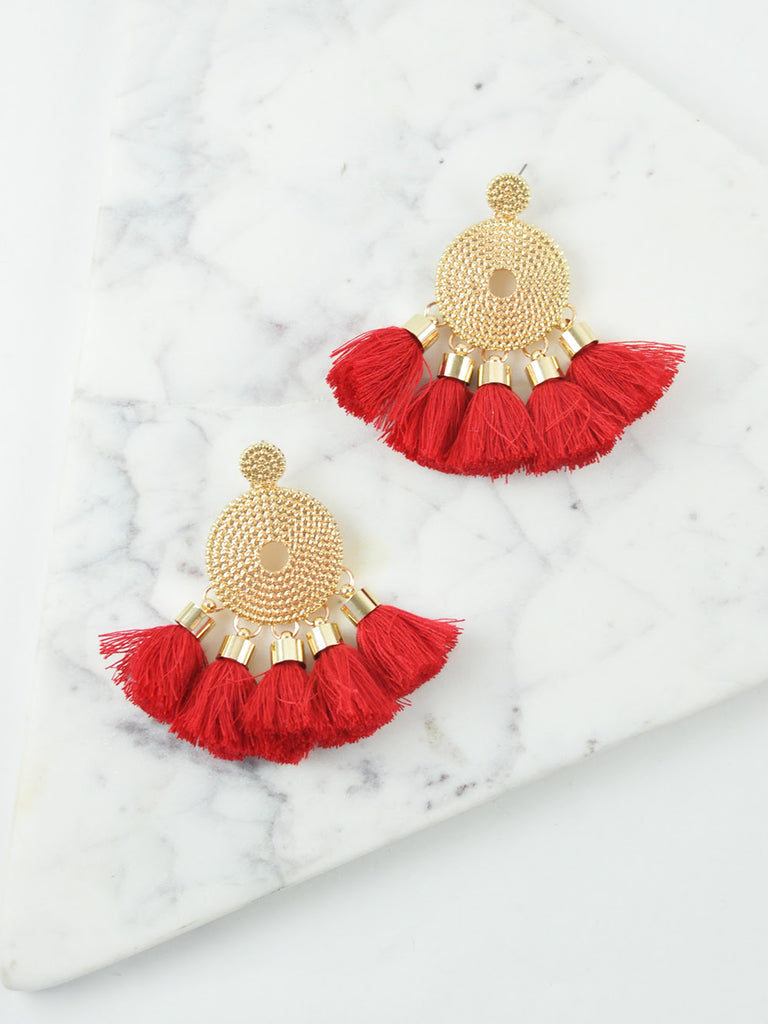 POPPY TASSEL / EARRINGS - RED