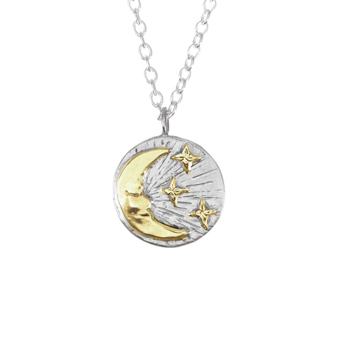 Moon & Stars Disc Gold Necklace