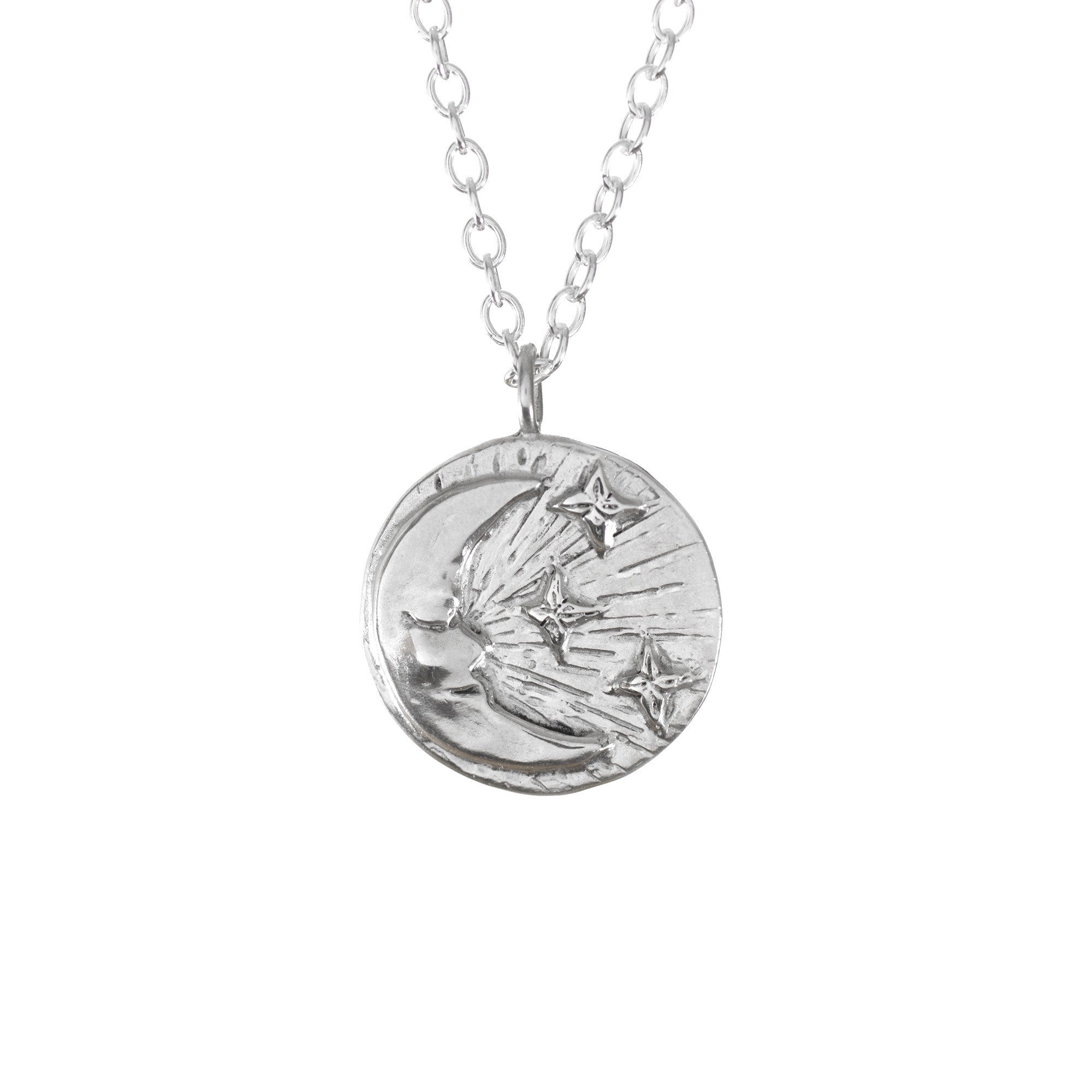 Moon & Stars Disc Necklace