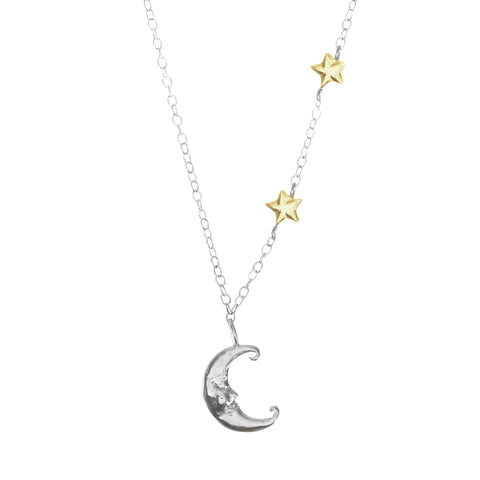 Crescent Moon & Gold Stars Necklace