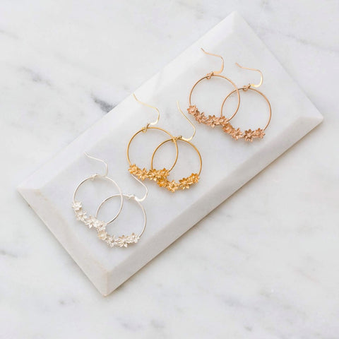 Flower hoops  rose gold