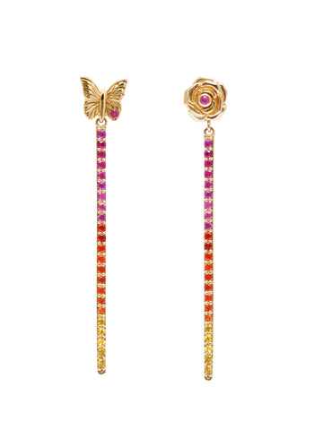 Fine Butterfly and Rose Pave Drop earrings
