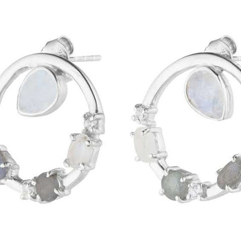anna circular earrings silver