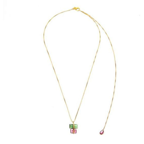 tourmaline gold parcel necklace
