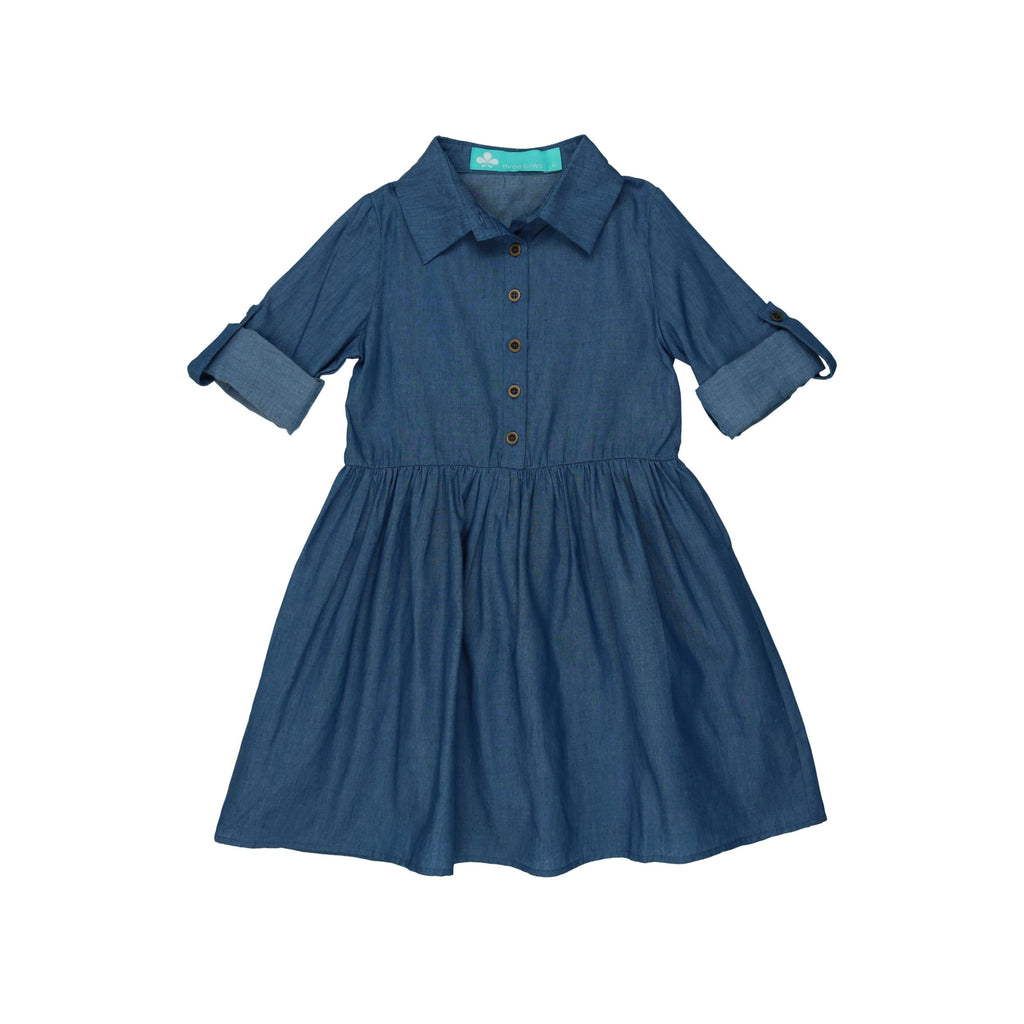 Denim Shirt Dress-Dark Denim