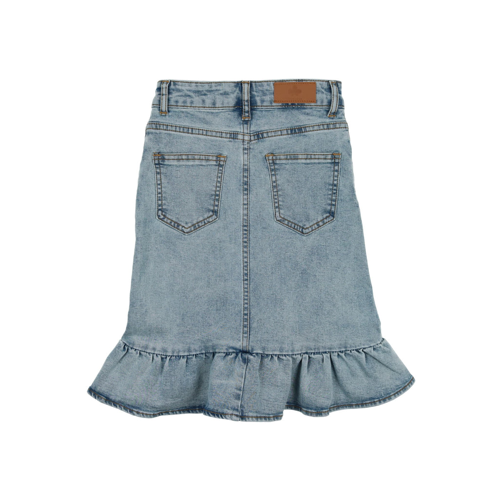 Ruffle Denim Skirt- Light Denim