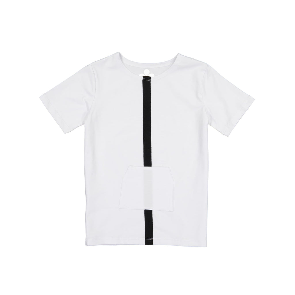 Stripe and Pocket Boys Top- White