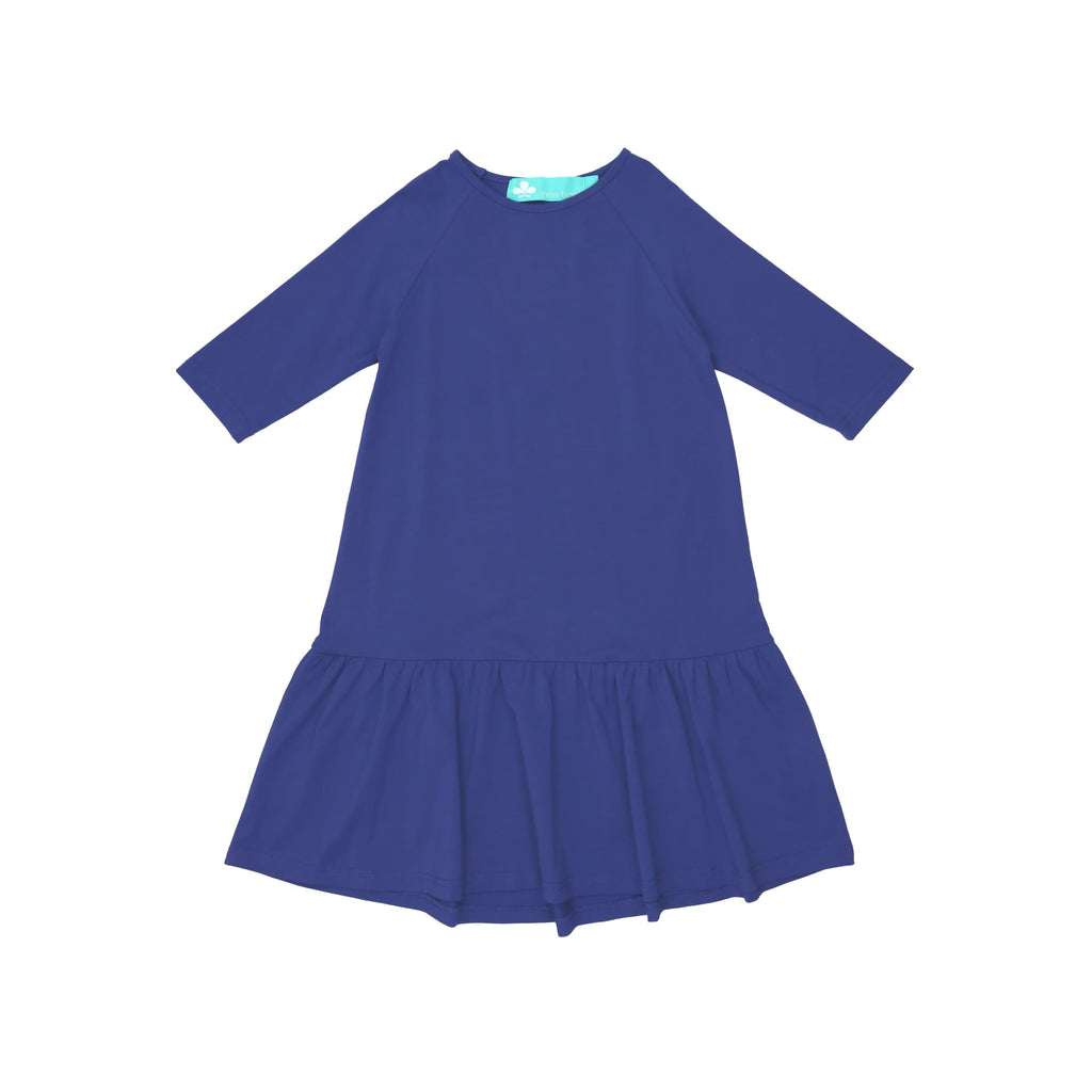 Drop Waist Ruffle Camp Dress- Cobalt