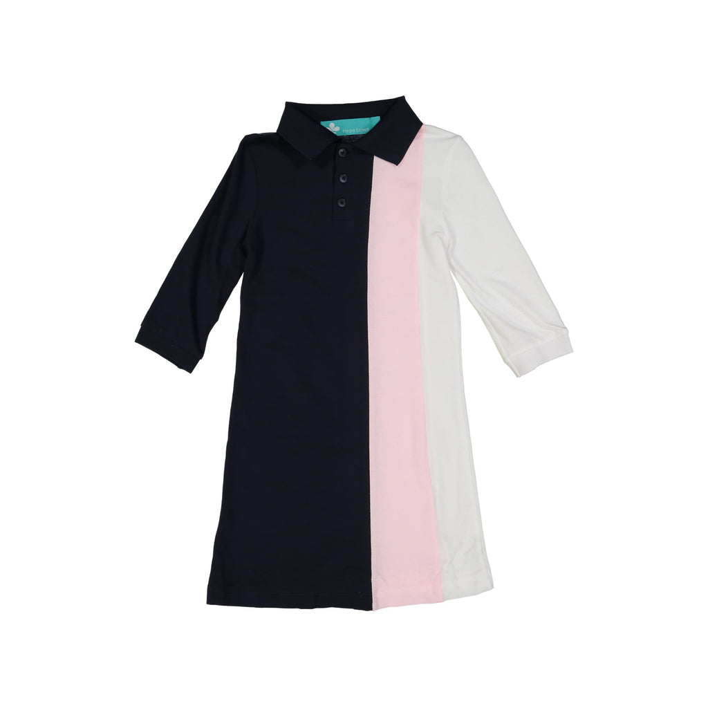 Striped Polo Dress- Navy/Pink