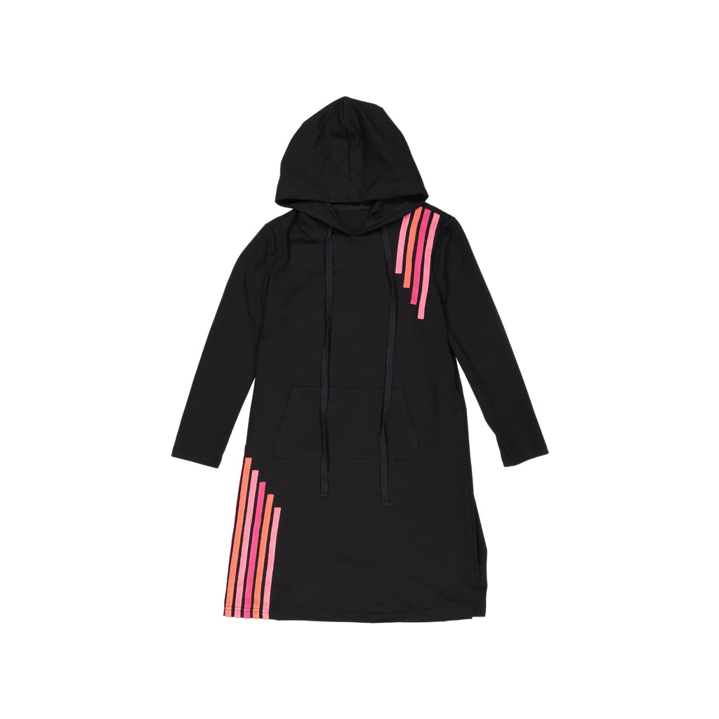 Cascade Stripe Hoodie Dress- Black