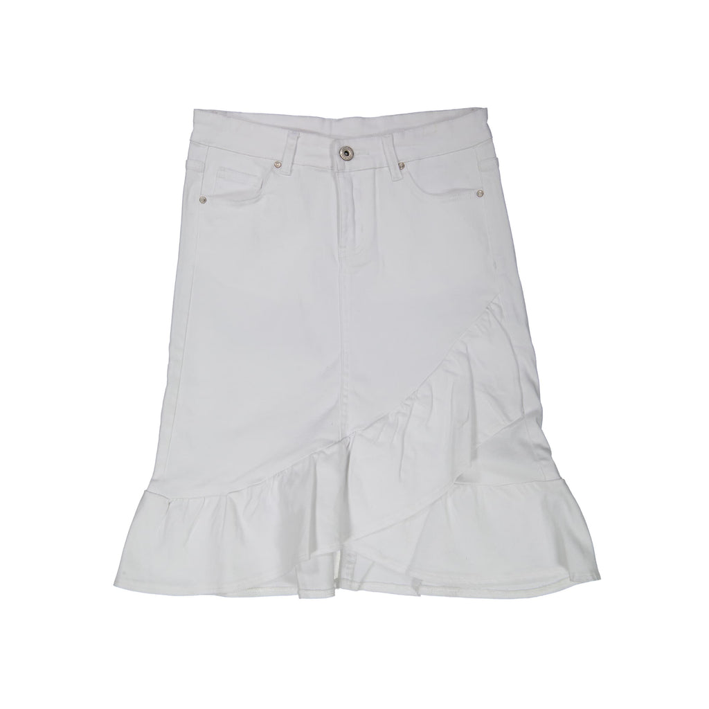 Ruffle Denim Skirt- White