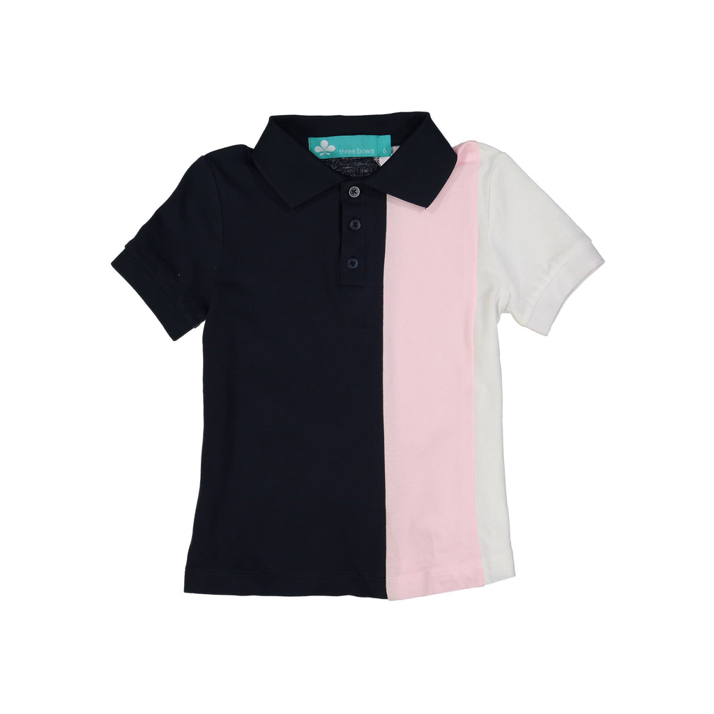Striped Boys Polo T-Shirt- Navy/Pink