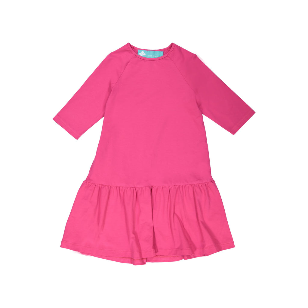 Drop Waist Ruffle Camp Dress- Fuschia
