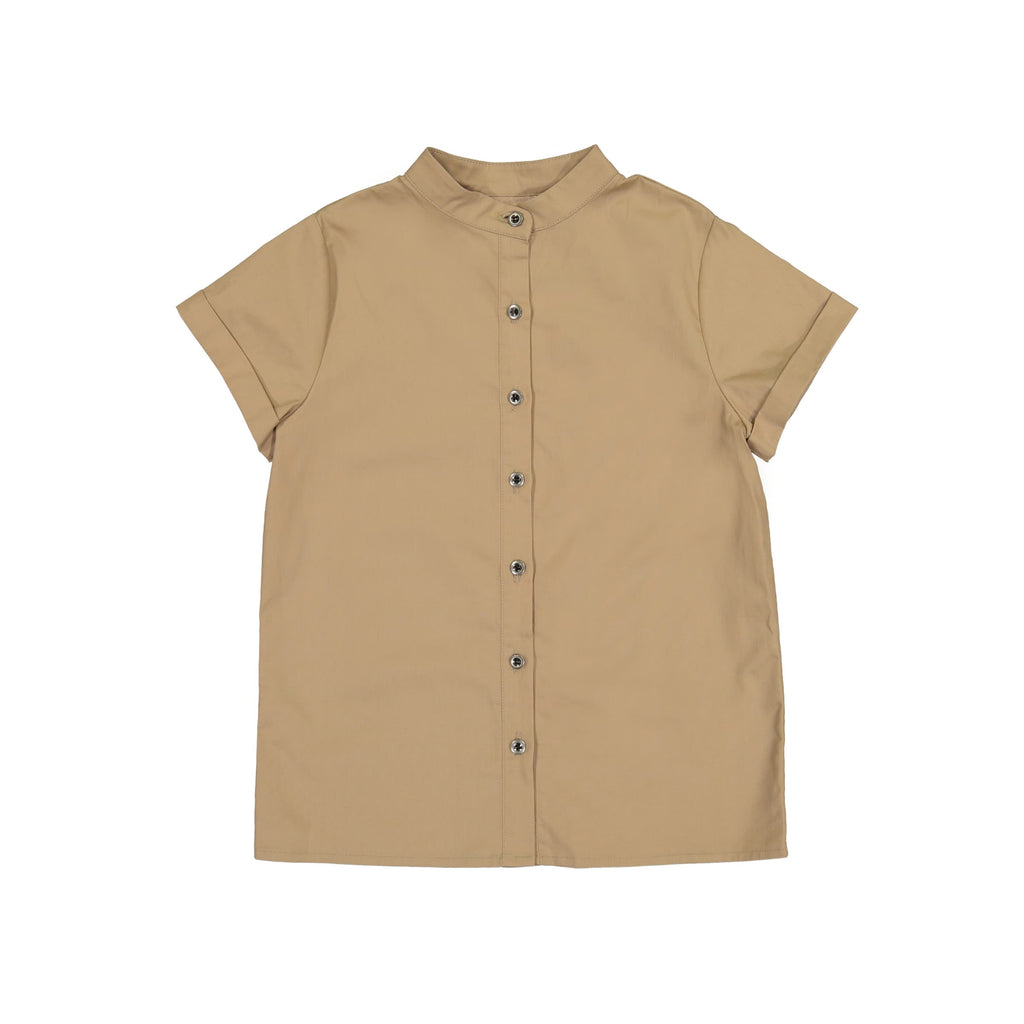 Boys Mandarin Collar Tunic- Taupe
